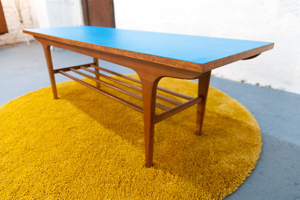 Table basse Scandinave Bleue & Teck Clair - Vintage