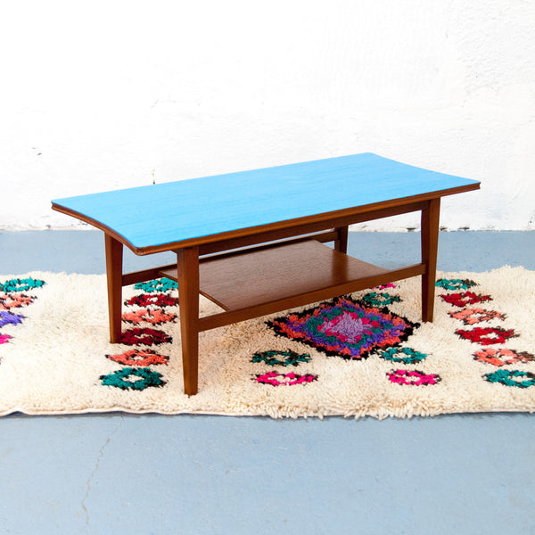 Table basse Scandinave Bleue & Teck - Vintage