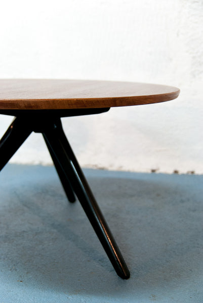 Table basse scandinave ronde tripode - Vintage