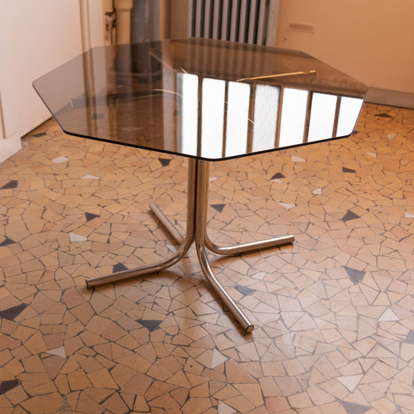 Table de repas Seventies verre & chrome