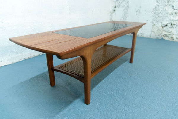 Table basse cannage, verre et teck