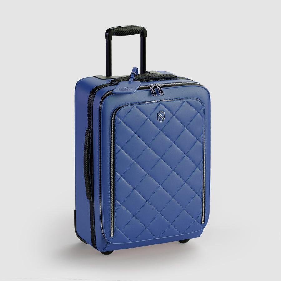 Blue leather carry on luggage