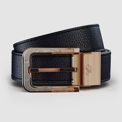 Rose Gold Reversible Black & Carbon Fiber Leather Belt