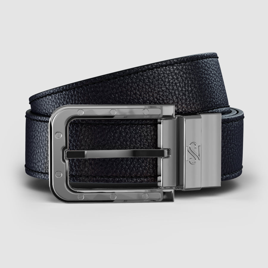 Black & Carbon Fiber Reversible Leather Belt Platinum
