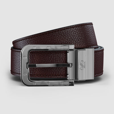 Platinum Reversible Brown & Carbon Fiber Leather Belt
