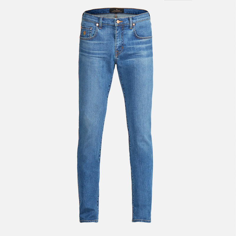 Men's Skinny Luxury Jeans Medium Wash Blue
