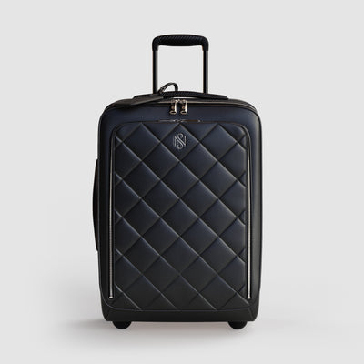 2-Wheel Black Leather Luxury Trolley