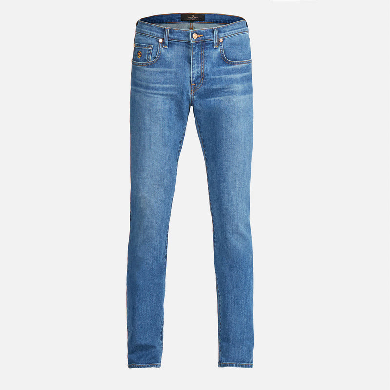 Men's Slim Luxury Jeans Medium Wash Blue