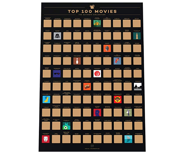100 Essential Movies Scratch-off Poster
