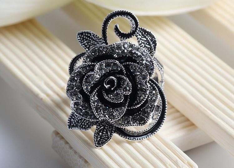 Elite Black Flower Bague