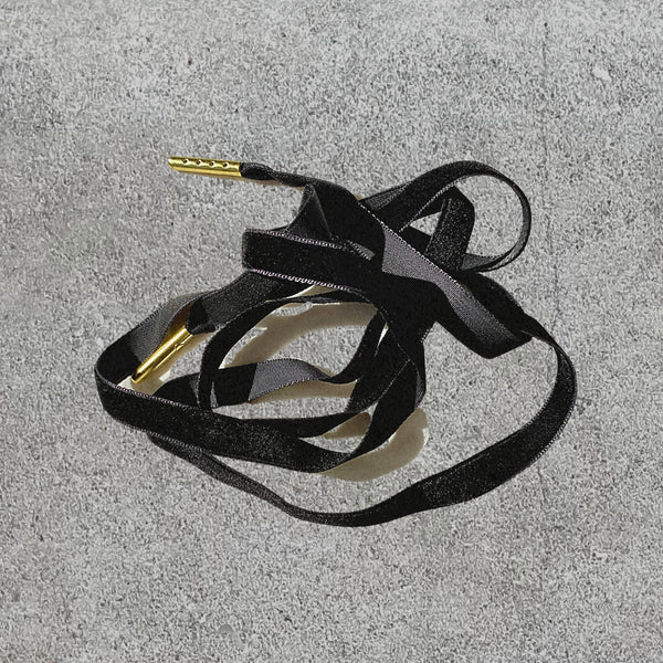 "Lacci per scarpe in velluto ""Velvet Shoelaces"" - Nero - Alice Bow"