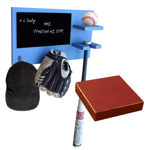 Baseball Softball Ball Bat Hat Glove Holder with Chalkboard