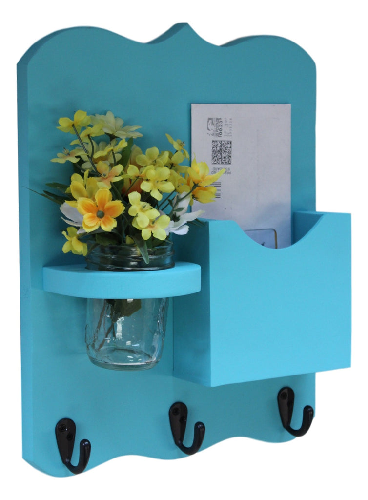 Mail Organizer - Letter Holder - Mail Holder with Key Hooks - Mason Jar