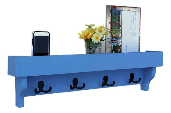 Coat Rack Shelf with Storage Tray - Coat Hooks