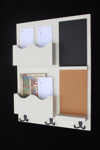 Mail Organizer - Cork Board - White Board - Key Hooks - Legacy Studio Decor - 1