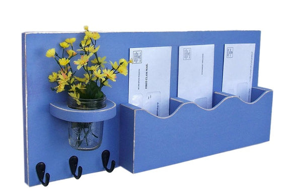 Mail Organizer - Mail And Key Holder - Key Hooks -Mason Jar