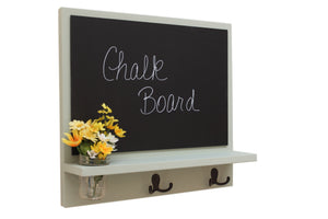 Message Board with Chalkboard, Coat Hooks and Mason Jar