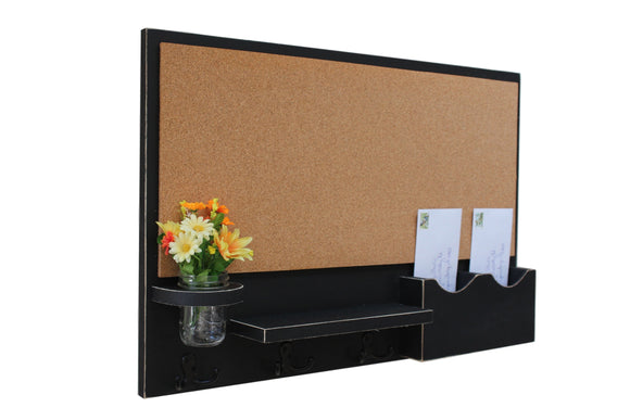 Cork Board, Bulletin Board Message Center, Mail and Key Holder