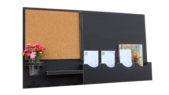 Mail Organizer - Cork Board - Chalkboard - Message Center - Coat Rack