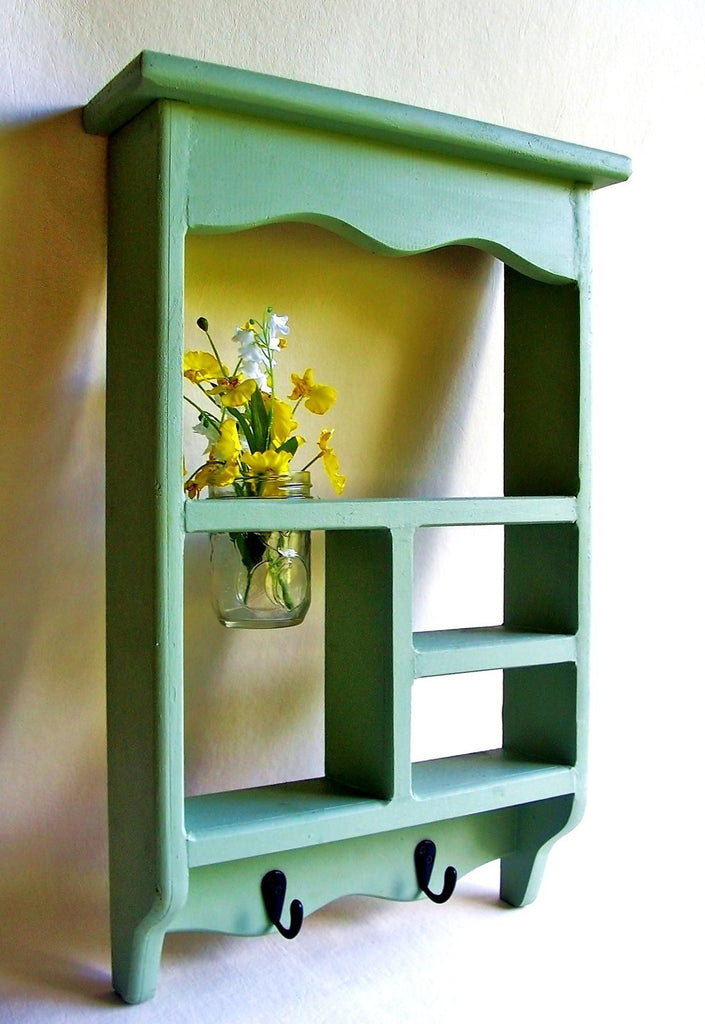 Wood Shadow Box Shelf with Jar Vase and Key Hooks