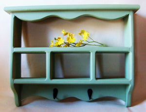 Shelf - Shadow Box with Key Hooks - Painted Wood - Cubby Shelf - Legacy Studio Decor - 1