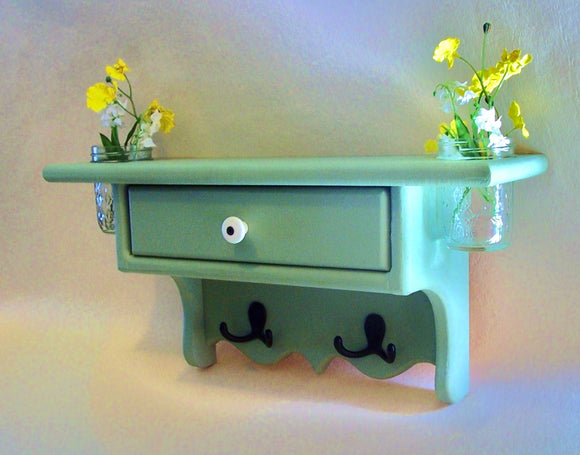 Shelf with Drawer - Jar Vases - Coat Hooks - Coat Rack - Painted Wood - Legacy Studio Decor - 1