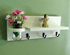Shelf with mason jar and key hooks and jar - Legacy Studio Decor - 1