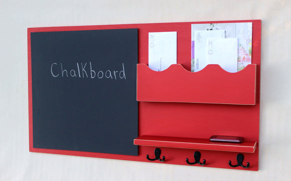 Message Center - Mail Organizer - Chalkboard - Key Hooks - Shelf - Legacy Studio Decor - 1