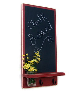 Chalkboard with Shelf Jar Vase and Key Hooks - Legacy Studio Decor - 2