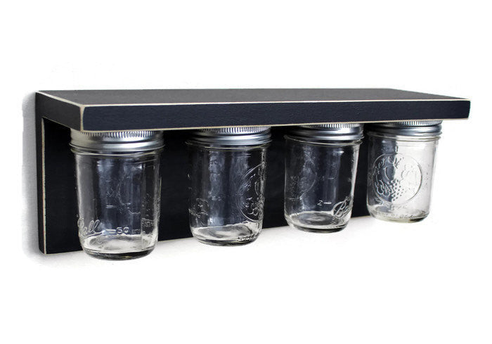Storage shelf with Mason Jars -  Wood Shelf with Jars