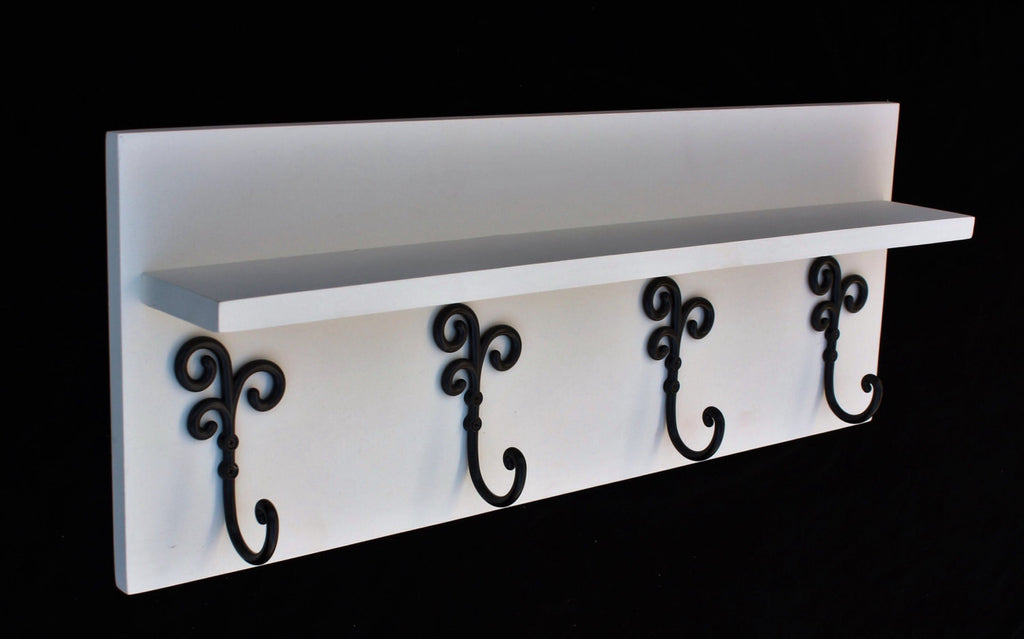 Coat Rack Shelf with Coat Hooks - Entry Way Shelf