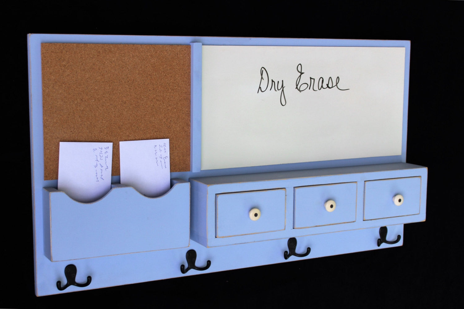 Message Center - Cork Board - Dry Erase - Coat Hooks - Drawers - Legacy Studio Decor - 1