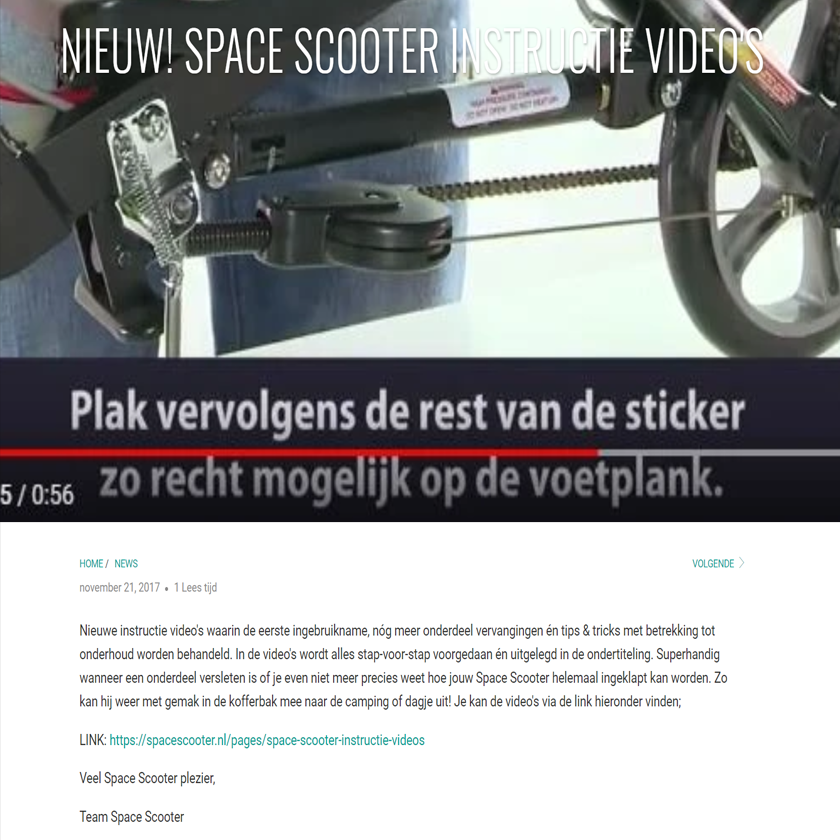 NIEUW! Space Scooter instructie video's