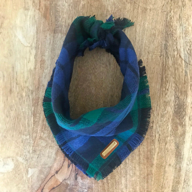Herald Navy and Green Plaid Dog Bandana Dog Bandana- Coco and Pistachio