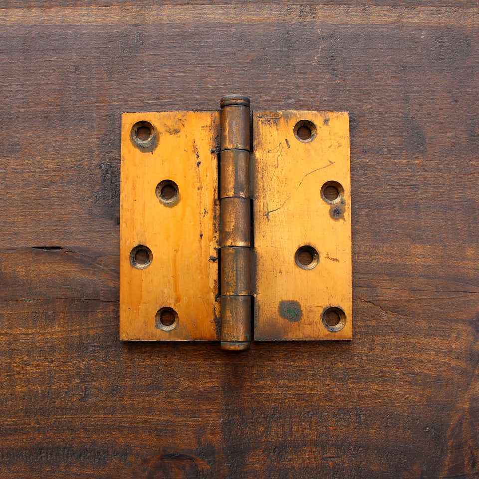 "Salvage Industrial Brass 4.5"" Hinge - Made in Detroit"