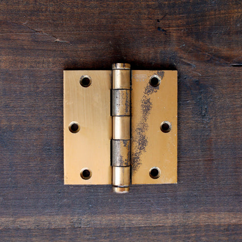 "Salvage Brass 3.5"" Hinge - Made in Detroit"