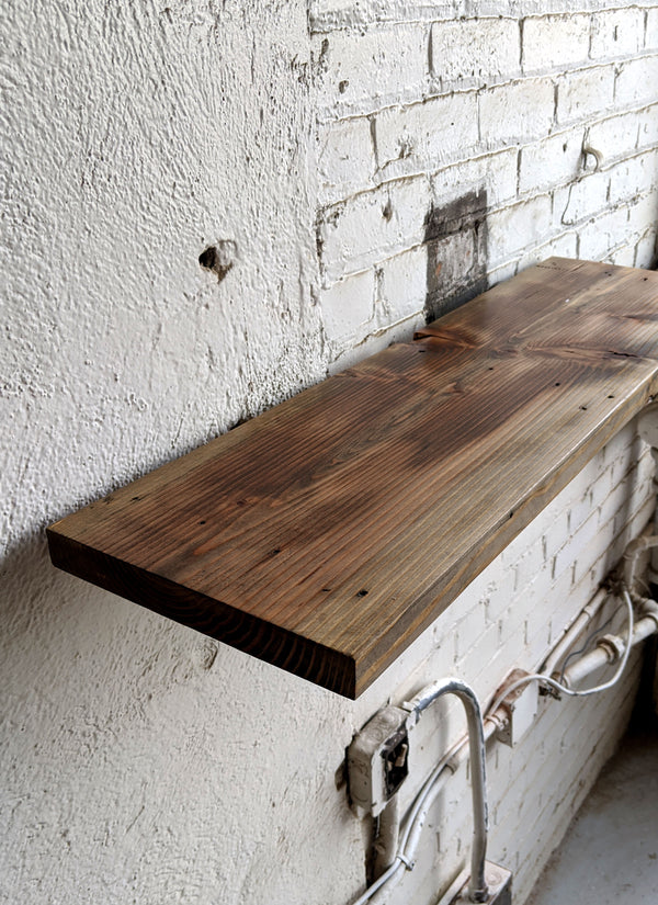 Weathered Gray Reclaimed Wood Shelf - Made in Detroit