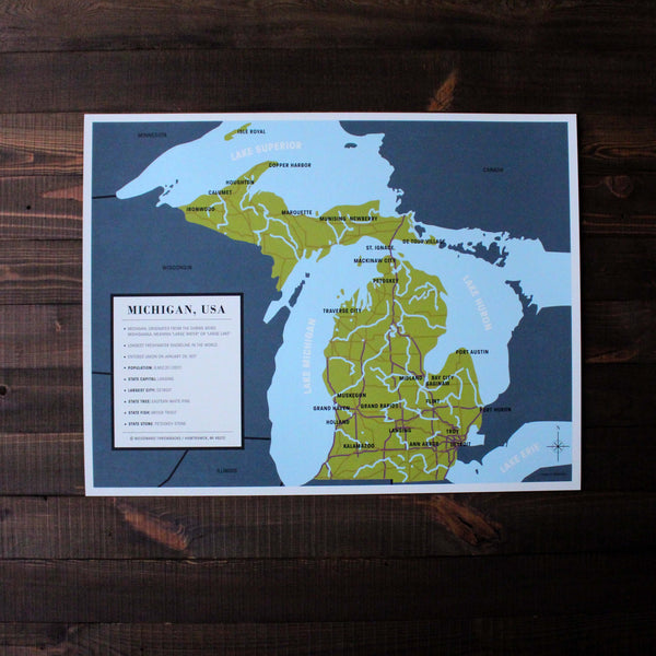 Michigan Map - Made in Detroit
