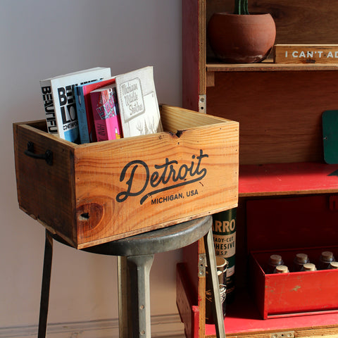 Detroit Script Record Crate - Made in Detroit