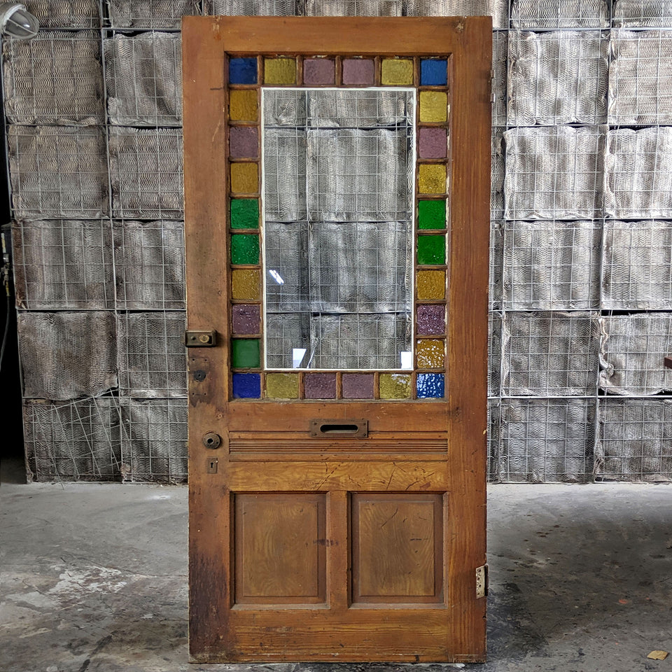 Distress Stained Glass Entry Door - Made in Detroit