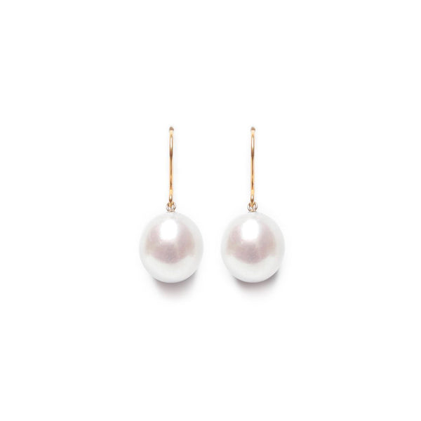 Tear Drop Pearl Earring - Grey Silver