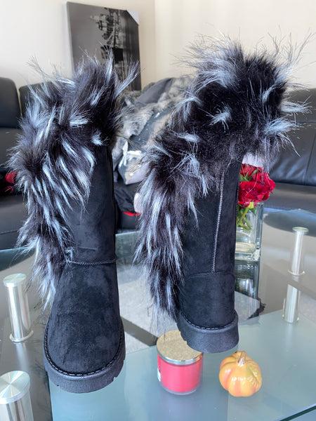 Faux Fur Collar Boot