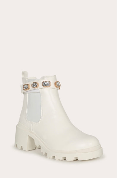 Jeweled Lugged Bootie