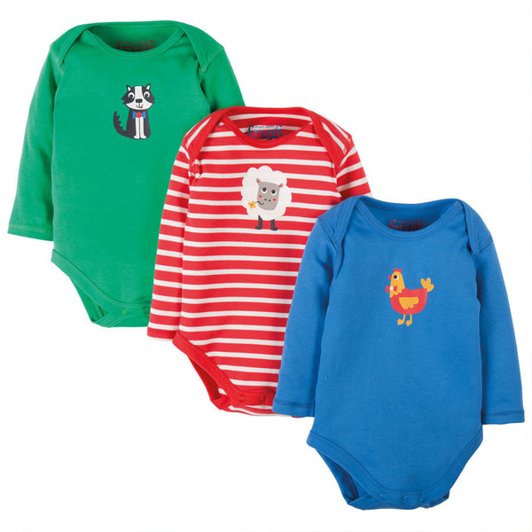 Frugi Long Sleeved Vests - Farm yard - 3 Pack