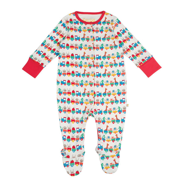 Frugi Organic Alphabet train Sleep suit