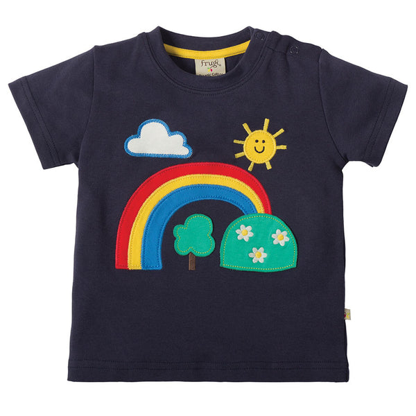 Frugi Little Creature Applique T-Shirt - Navy/Rainbow