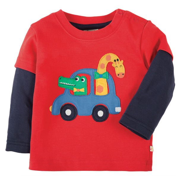 Frugi Little Look Out Top - Tomato Car