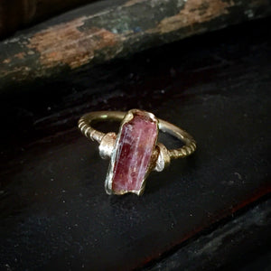 Pink raw tourmaline crystal ring