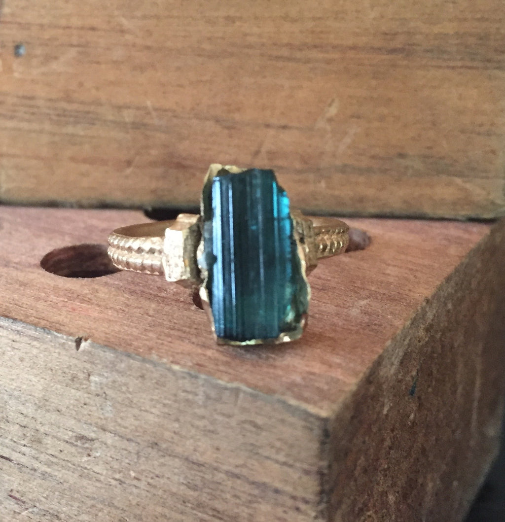 Blue Raw Tourmaline Ring