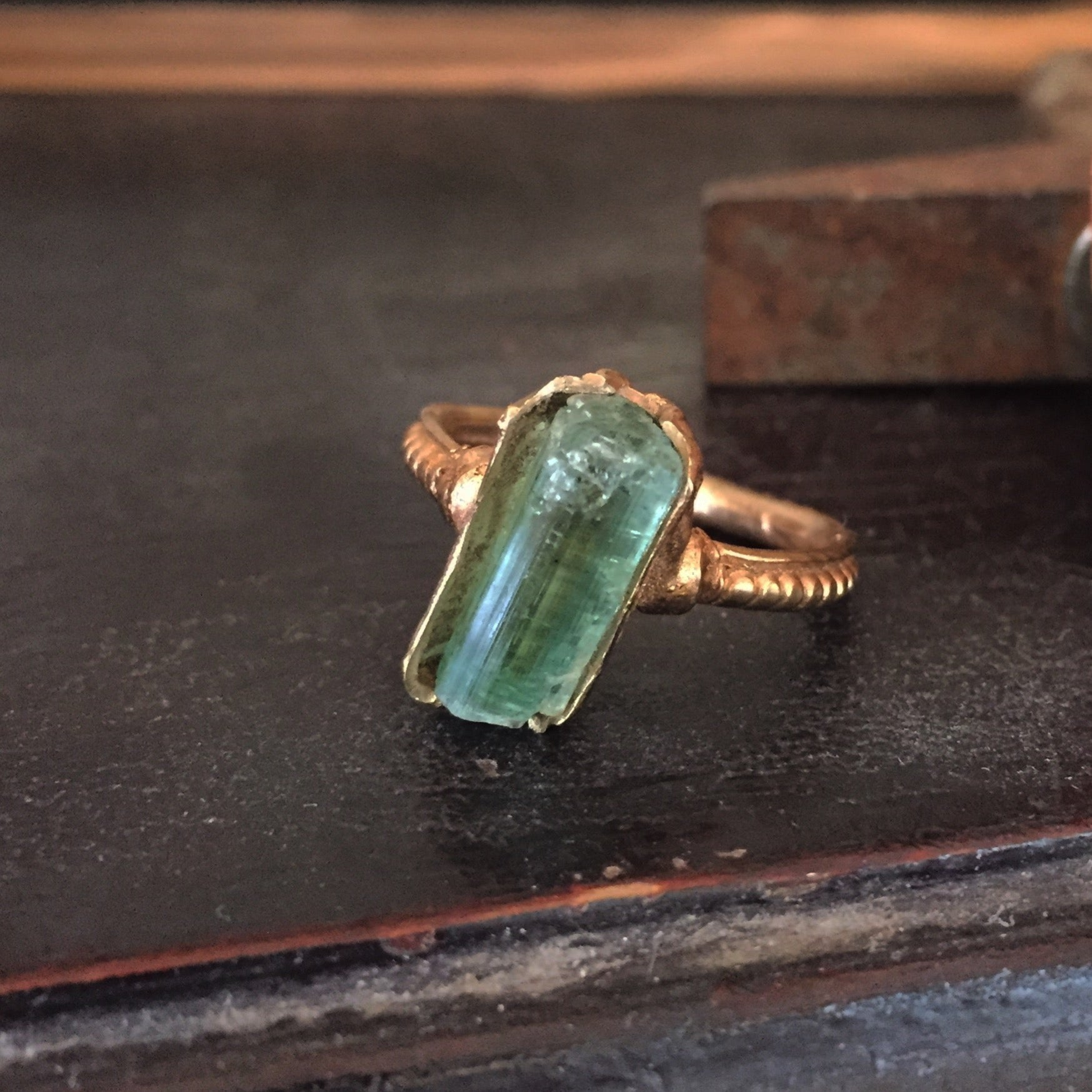 Green raw tourmaline crystal ring